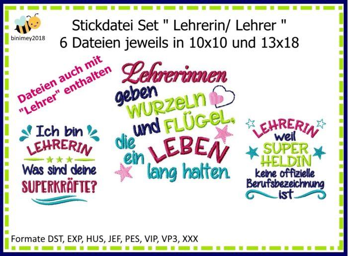 Stickdatei Spruch Lehrer Lehrerin Set Digital